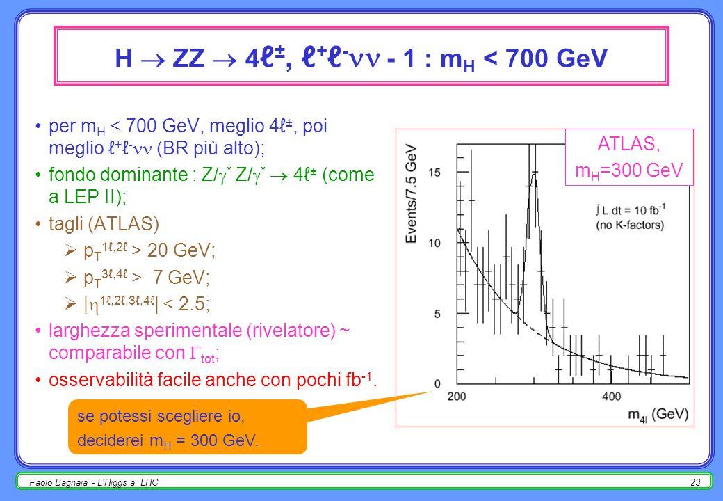 Paolo Bagnaia - L Higgs a LHC22 sommario : 110 < m H < 2 m Z ATLAS