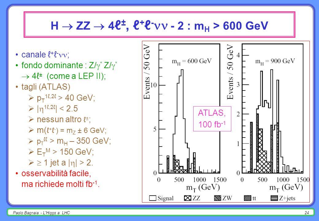 Paolo Bagnaia - L Higgs a LHC23 H  ZZ  4 ℓ ±, ℓ + ℓ - - 1 : m H < 700 GeV per m H < 700 GeV, meglio 4ℓ ±, poi meglio ℓ + ℓ - (BR più alto); fondo dominante : Z/  * Z/  *  4ℓ ± (come a LEP II); tagli (ATLAS)  p T 1ℓ,2ℓ > 20 GeV;  p T 3ℓ,4ℓ > 7 GeV;  |  1ℓ,2ℓ,3ℓ,4ℓ | < 2.5; larghezza sperimentale (rivelatore) ~ comparabile con  tot ; osservabilità facile anche con pochi fb -1.