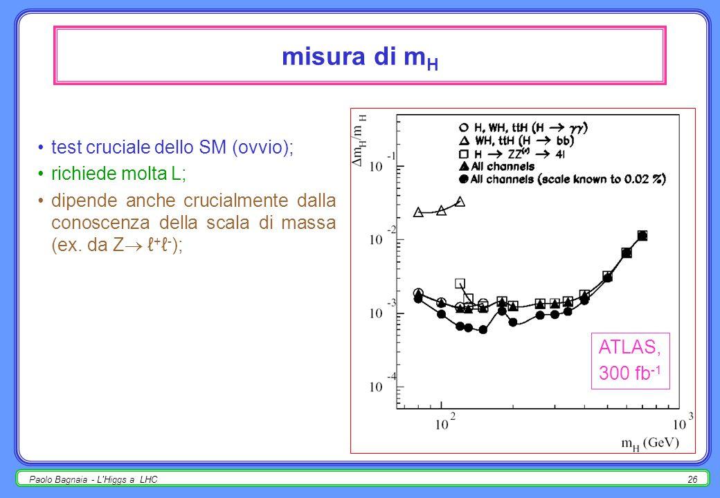 Paolo Bagnaia - L Higgs a LHC25 H  WW, ZZ  ℓ ± jj, ℓ + ℓ - jj fondo dominante : W+jet, t tbar  ℓ ±, WW  ℓ ± ; tagli (ATLAS, ℓ ± jj)  p T ℓ > 100 GeV;  E T M > 100 GeV;  p T 1j, 2j > 50 GeV;  p T W  ℓℓ, W  jj > 350 GeV;  m(jj) = m W ± 2  (1  =5  7 GeV); per ℓ + ℓ - jj :   ×BR  1/6;  tagli simile (E T M  p T 2ℓ );  vincolo m() = m Z  no fondo t t.