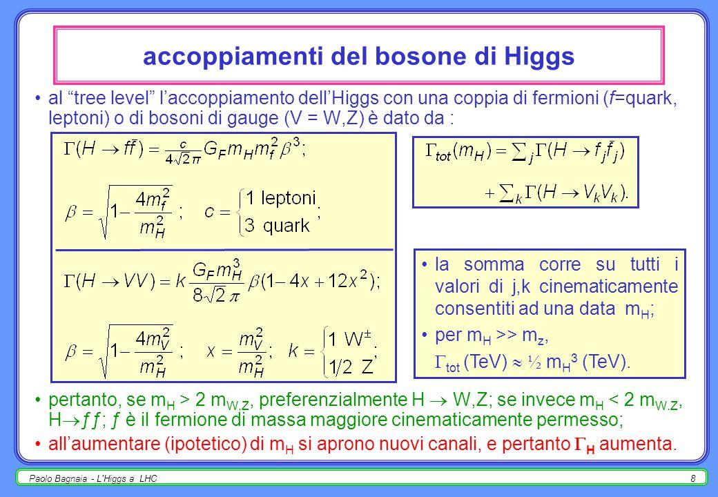 Paolo Bagnaia - L'Higgs a LHC7 pp  HX a  s = 14 TeV - diagrammi q q'q' W,Z H q bar q W,Z H t t bar H g g g H t g ++         … + altri …