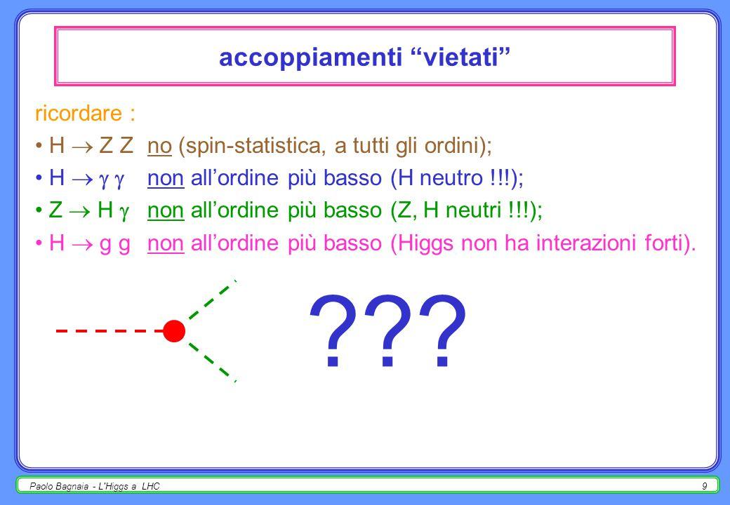 Paolo Bagnaia - L Higgs a LHC8 accoppiamenti del bosone di Higgs al tree level l'accoppiamento dell'Higgs con una coppia di fermioni (f=quark, leptoni) o di bosoni di gauge (V = W,Z) è dato da : pertanto, se m H > 2 m W,Z, preferenzialmente H  W,Z; se invece m H < 2 m W.Z, H  ƒƒ; ƒ è il fermione di massa maggiore cinematicamente permesso; all'aumentare (ipotetico) di m H si aprono nuovi canali, e pertanto  H aumenta.