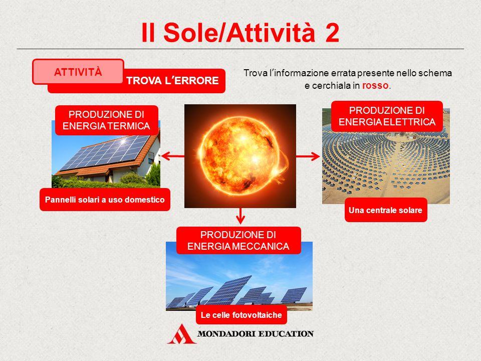 Il Sole/Attività 1 Osserva gli edifici della tua città e scopri se esistono utilizzatori di energia solare (pannelli solari o celle fotovoltaiche). Sc