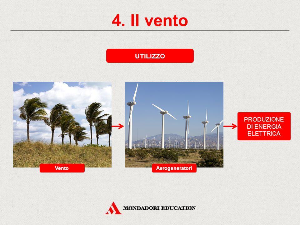 4. Il vento VANTAGGI L'energia eolica è pulita, rinnovabile ed economica. SVANTAGGI I venti sono incostanti; l'utilizzo di questa energia avviene loca