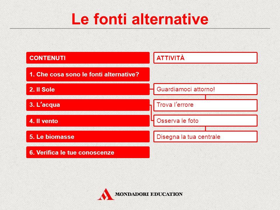 Le fonti alternative CONTENUTI 1.Che cosa sono le fonti alternative.