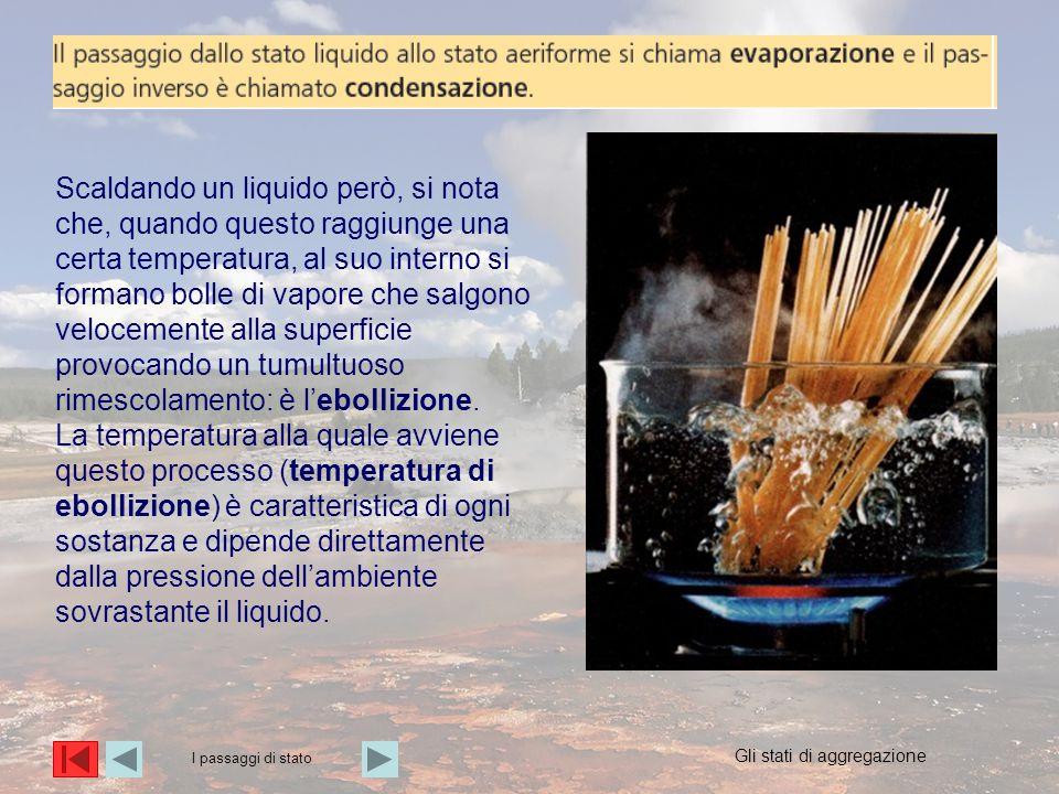 Scaldando un liquido però, si nota che, quando questo raggiunge una certa temperatura, al suo interno si formano bolle di vapore che salgono velocemen