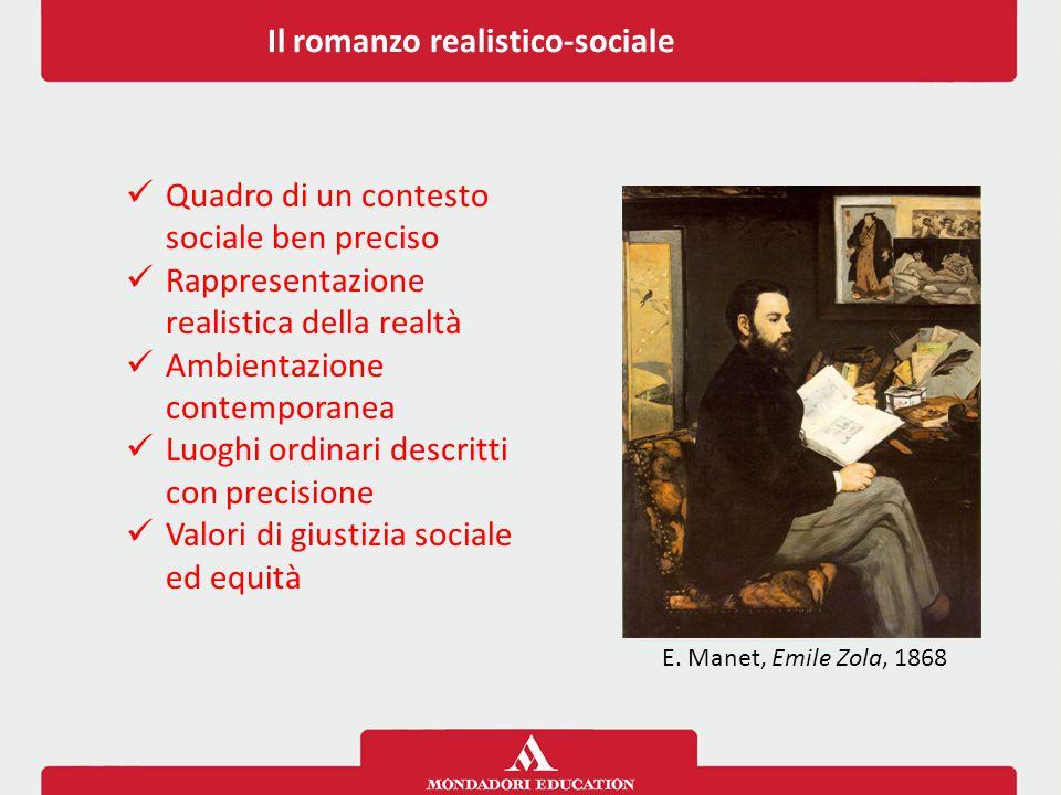 Il romanzo realistico-sociale E. Manet, Emile Zola, 1868 Quadro di un contesto sociale ben preciso Rappresentazione realistica della realtà Ambientazi