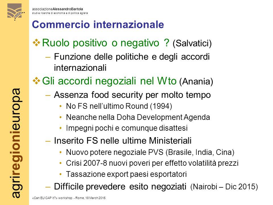 agriregionieuropa associazioneAlessandroBartola studi e ricerche di economia e di politica agraria «Can EU CAP it » workshop - Rome, 18 March 2015 Commercio internazionale  Ruolo positivo o negativo .