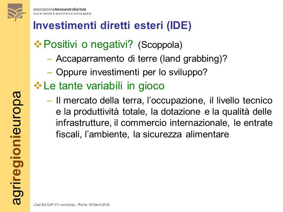 agriregionieuropa associazioneAlessandroBartola studi e ricerche di economia e di politica agraria «Can EU CAP it » workshop - Rome, 18 March 2015 Investimenti diretti esteri (IDE)  Positivi o negativi.
