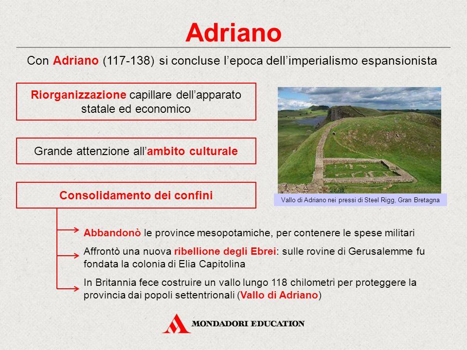 Adriano Con Adriano (117-138) si concluse l'epoca dell'imperialismo espansionista Consolidamento dei confini Riorganizzazione capillare dell'apparato