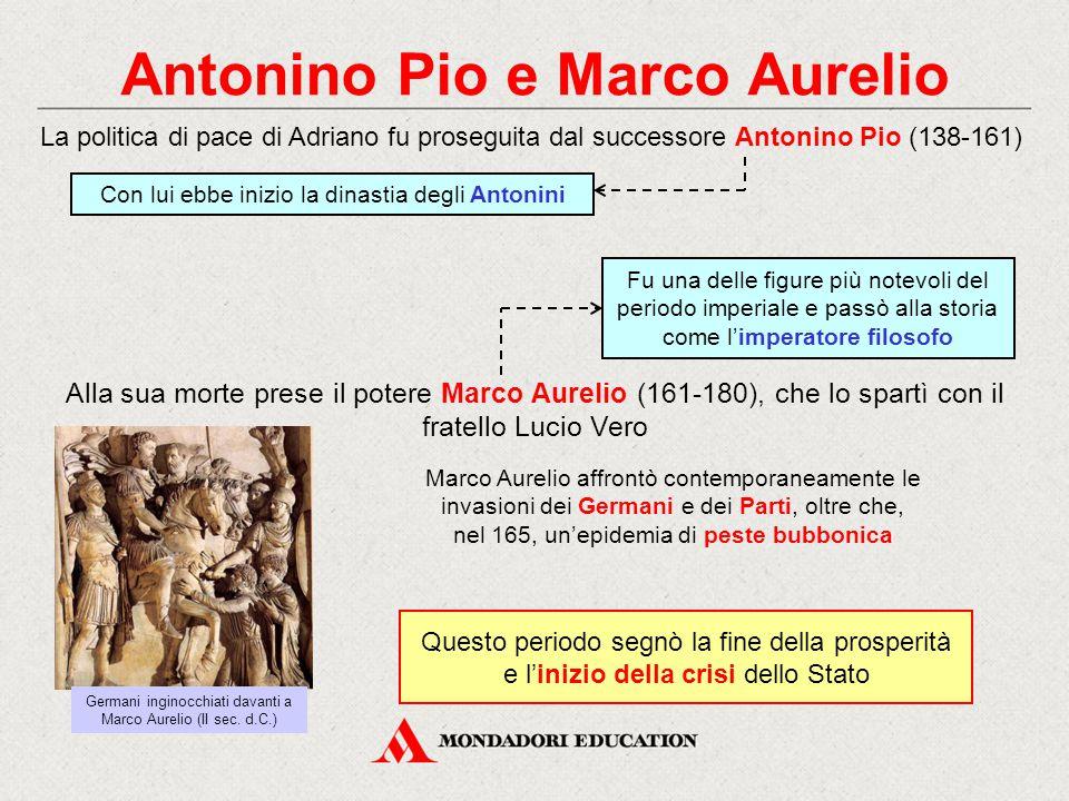 Antonino Pio e Marco Aurelio Alla sua morte prese il potere Marco Aurelio (161-180), che lo spartì con il fratello Lucio Vero La politica di pace di A