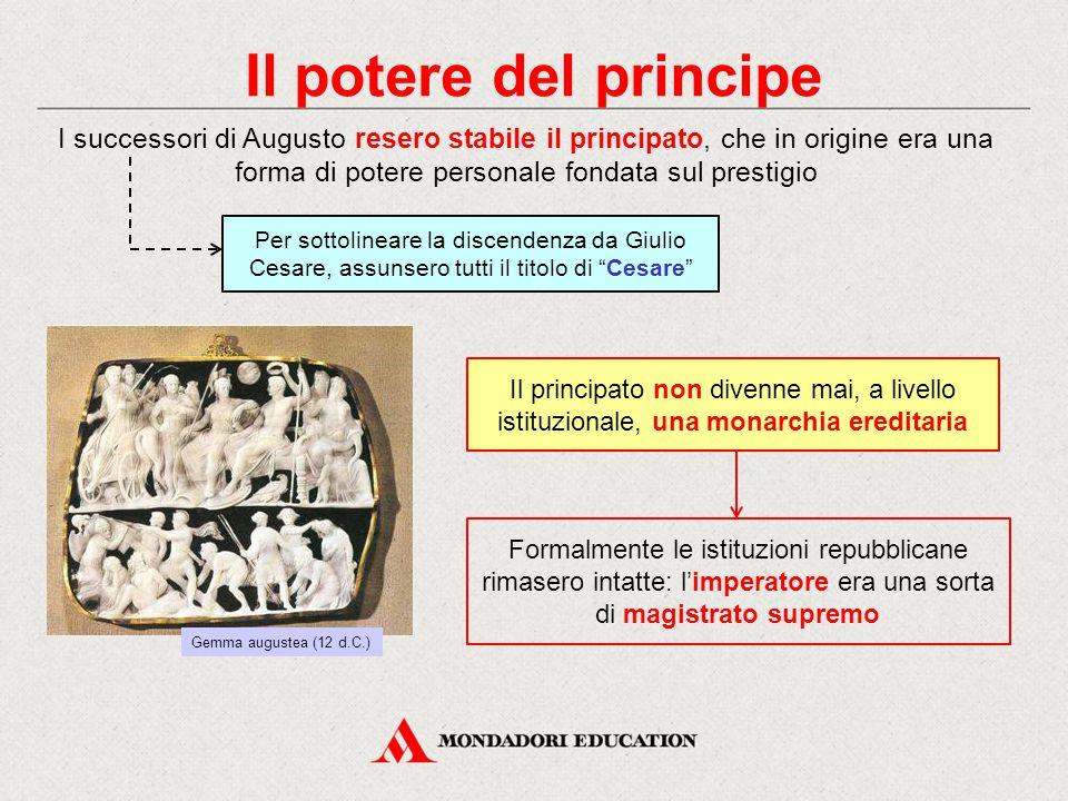 Il potere del principe I successori di Augusto resero stabile il principato, che in origine era una forma di potere personale fondata sul prestigio Il