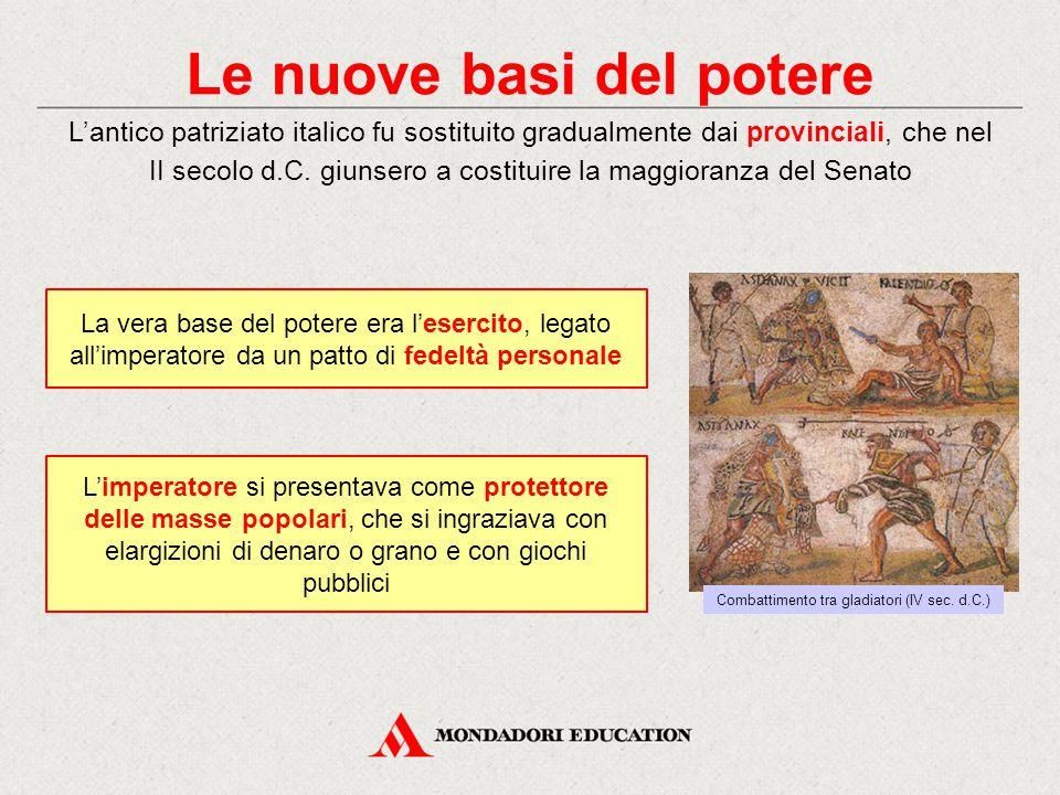 Le nuove basi del potere L'antico patriziato italico fu sostituito gradualmente dai provinciali, che nel II secolo d.C. giunsero a costituire la maggi