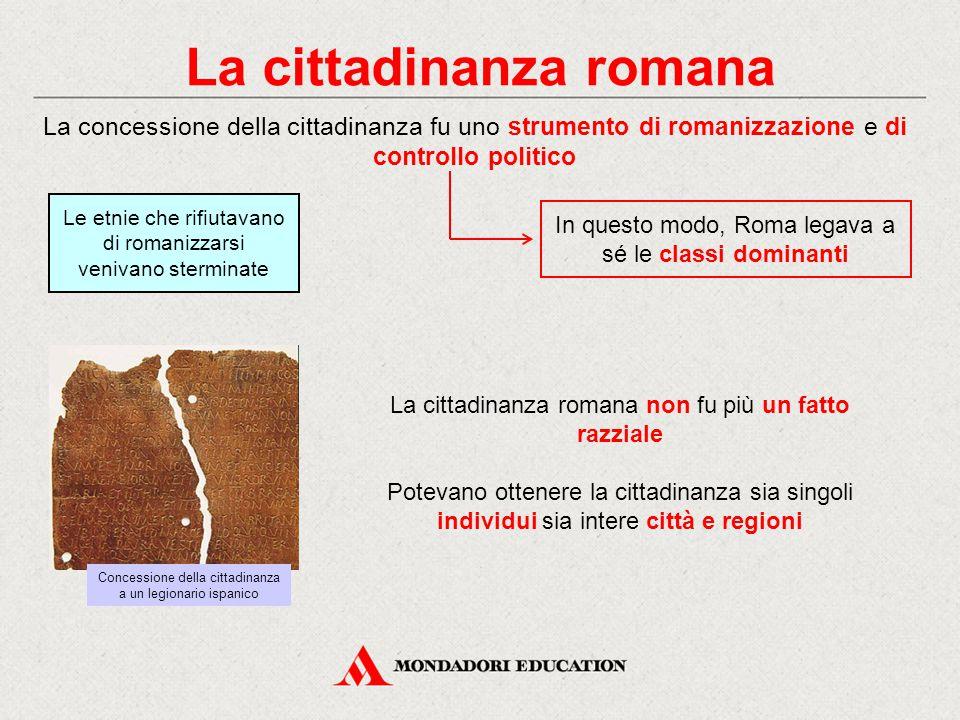La cittadinanza romana La concessione della cittadinanza fu uno strumento di romanizzazione e di controllo politico La cittadinanza romana non fu più