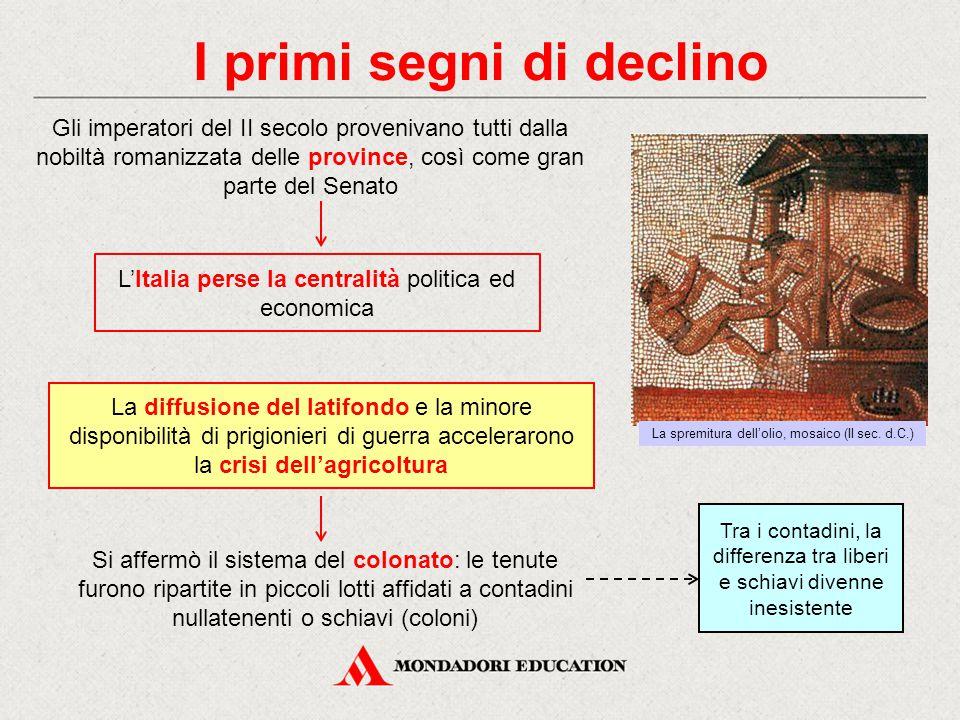 I primi segni di declino Gli imperatori del II secolo provenivano tutti dalla nobiltà romanizzata delle province, così come gran parte del Senato La d