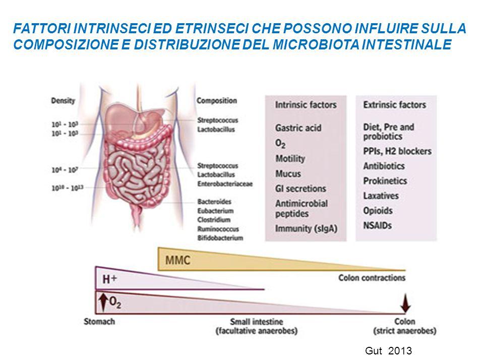 FATTORI INTRINSECI ED ETRINSECI CHE POSSONO INFLUIRE SULLA COMPOSIZIONE E DISTRIBUZIONE DEL MICROBIOTA INTESTINALE Gut 2013
