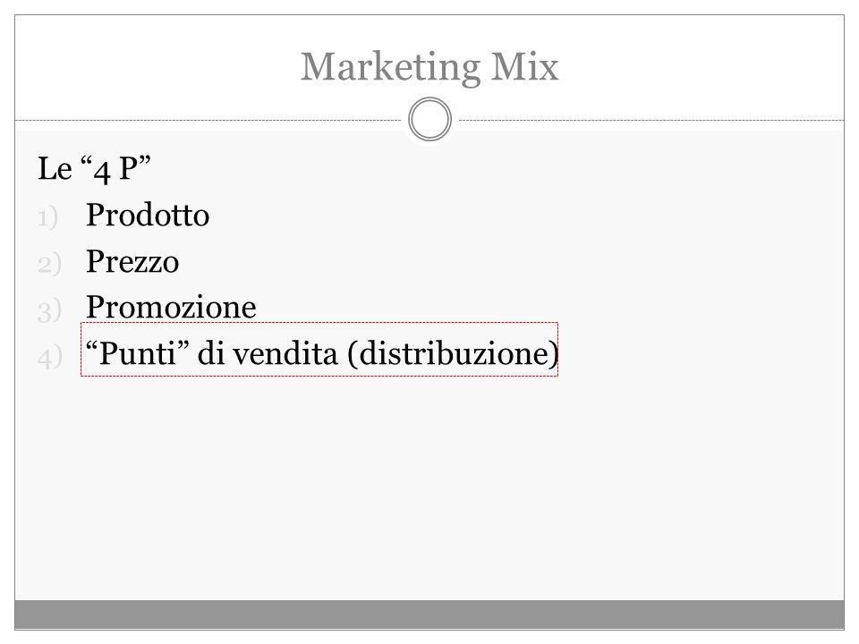 Marketing Mix Le 4 P 1) Prodotto 2) Prezzo 3) Promozione 4) Punti di vendita (distribuzione)