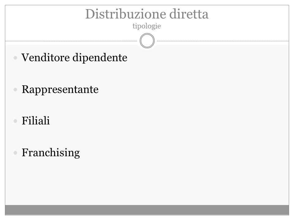 Distribuzione diretta tipologie Venditore dipendente Rappresentante Filiali Franchising
