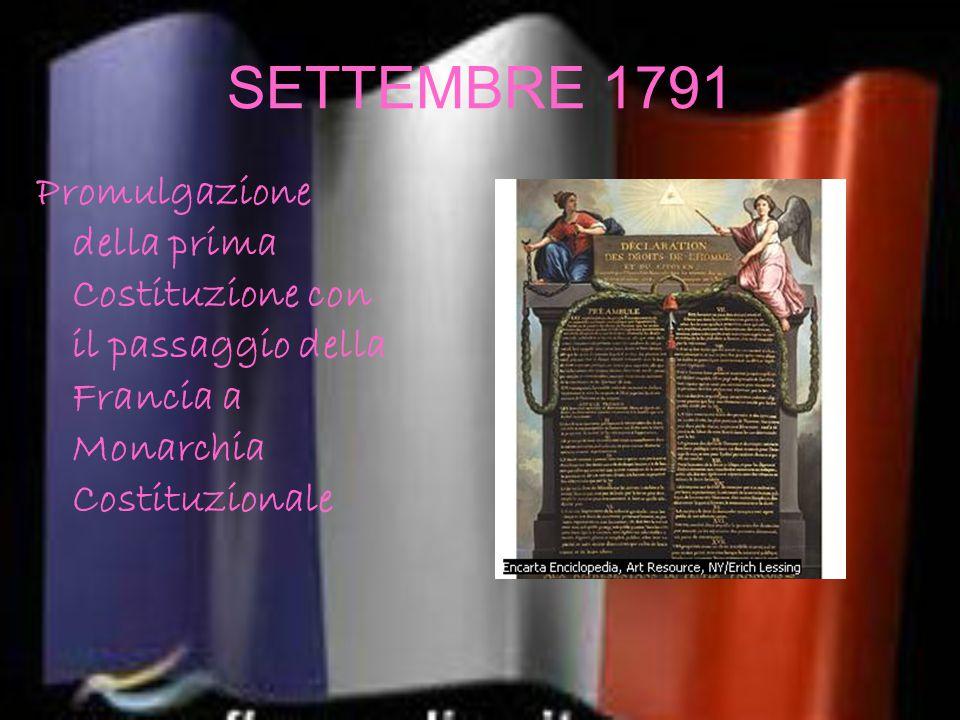 SETTEMBRE 1791 Promulgazione della prima Costituzione con il passaggio della Francia a Monarchia Costituzionale