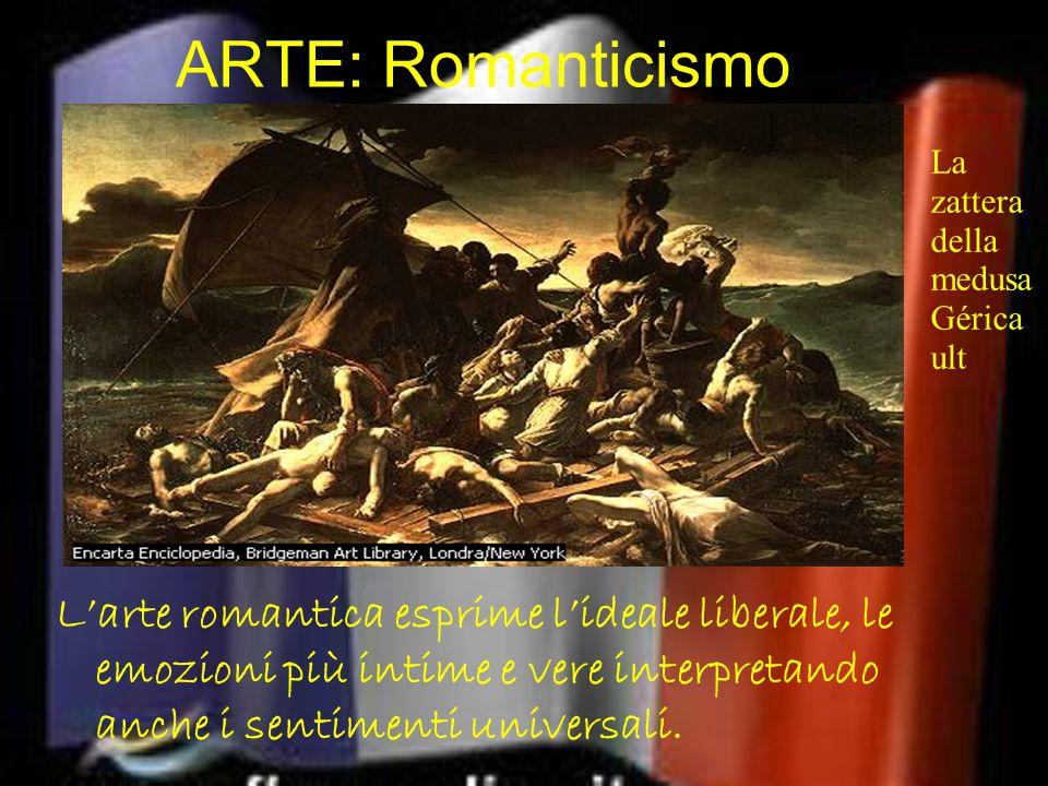 ARTE: Romanticismo L'arte romantica esprime l'ideale liberale, le emozioni più intime e vere interpretando anche i sentimenti universali. La zattera d