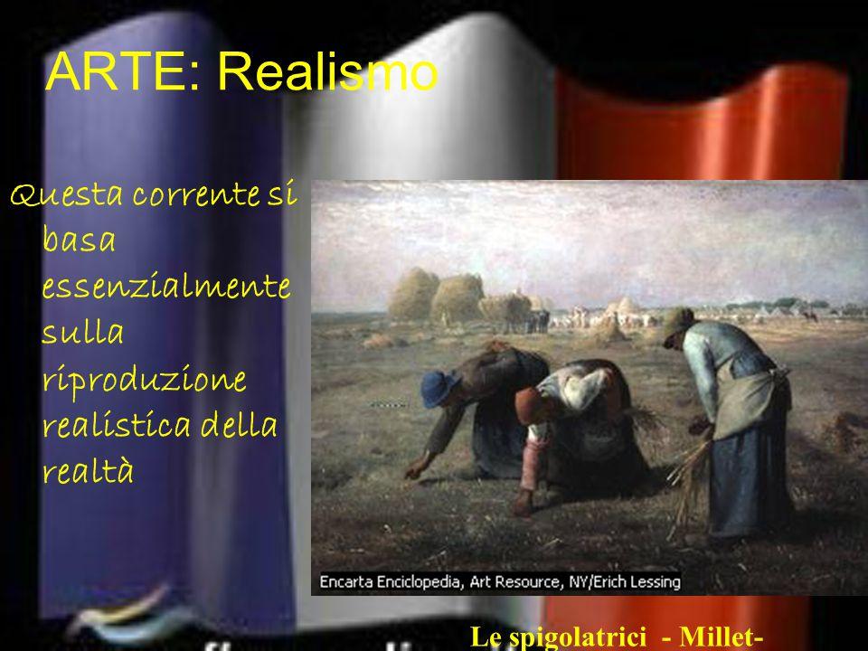 ARTE: Realismo Questa corrente si basa essenzialmente sulla riproduzione realistica della realtà Le spigolatrici - Millet-