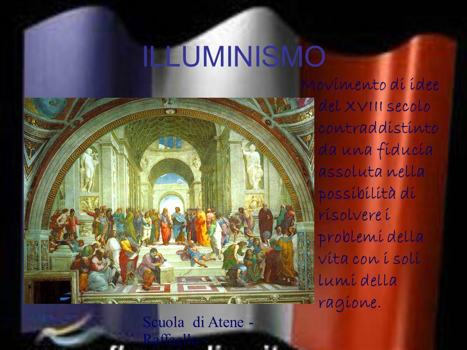 ILLUMINISMO Movimento di idee del XVIII secolo contraddistinto da una fiducia assoluta nella possibilità di risolvere i problemi della vita con i soli lumi della ragione.