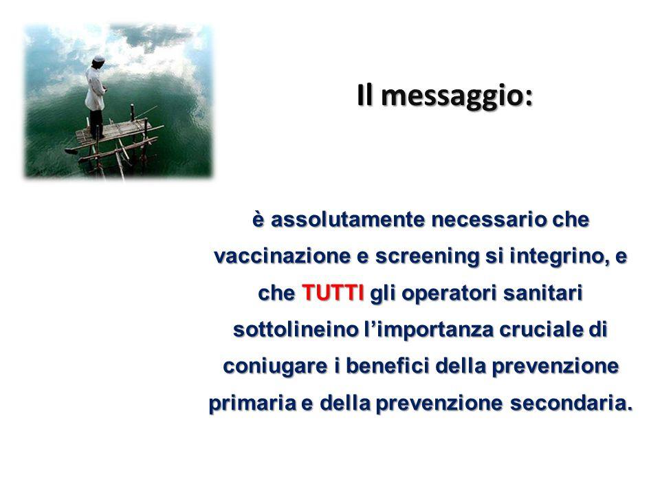è assolutamente necessario che vaccinazione e screening si integrino, e che TUTTI gli operatori sanitari sottolineino l'importanza cruciale di coniuga