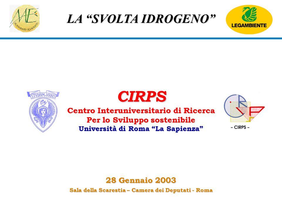 """LA """"SVOLTA IDROGENO"""" CIRPS Centro Interuniversitario di Ricerca Per lo Sviluppo sostenibile Università di Roma """"La Sapienza"""" 28 Gennaio 2003 Sala dell"""