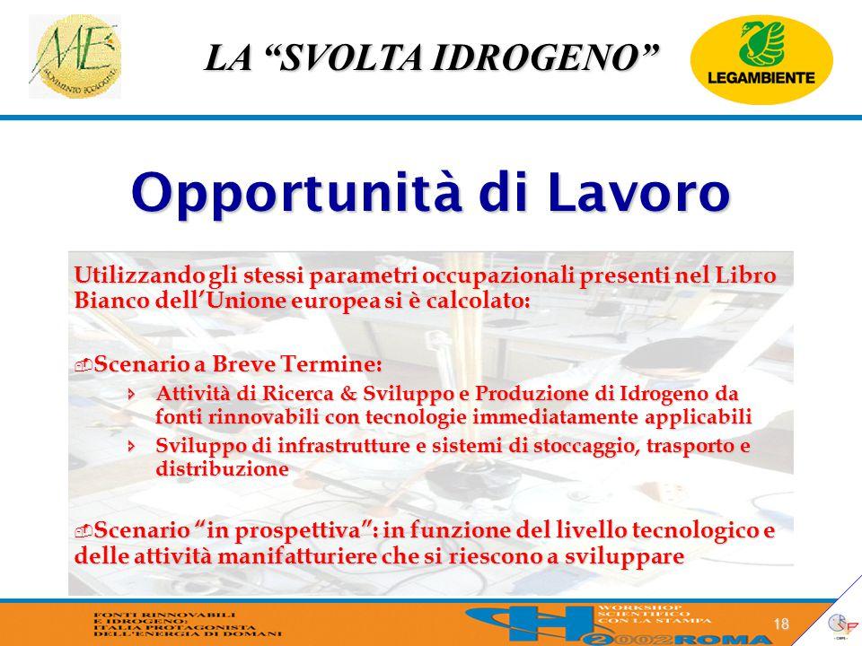 """LA """"SVOLTA IDROGENO"""" 18 Opportunità di Lavoro Utilizzando gli stessi parametri occupazionali presenti nel Libro Bianco dell'Unione europea si è calcol"""