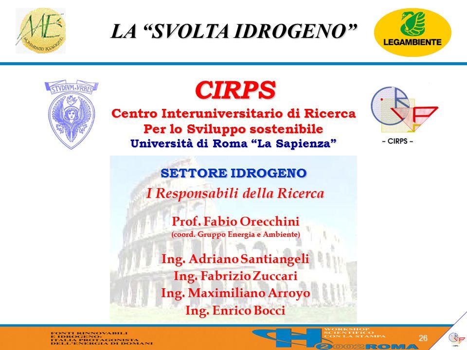 """LA """"SVOLTA IDROGENO"""" 26 CIRPS Centro Interuniversitario di Ricerca Per lo Sviluppo sostenibile Università di Roma """"La Sapienza"""" SETTORE IDROGENO I Res"""