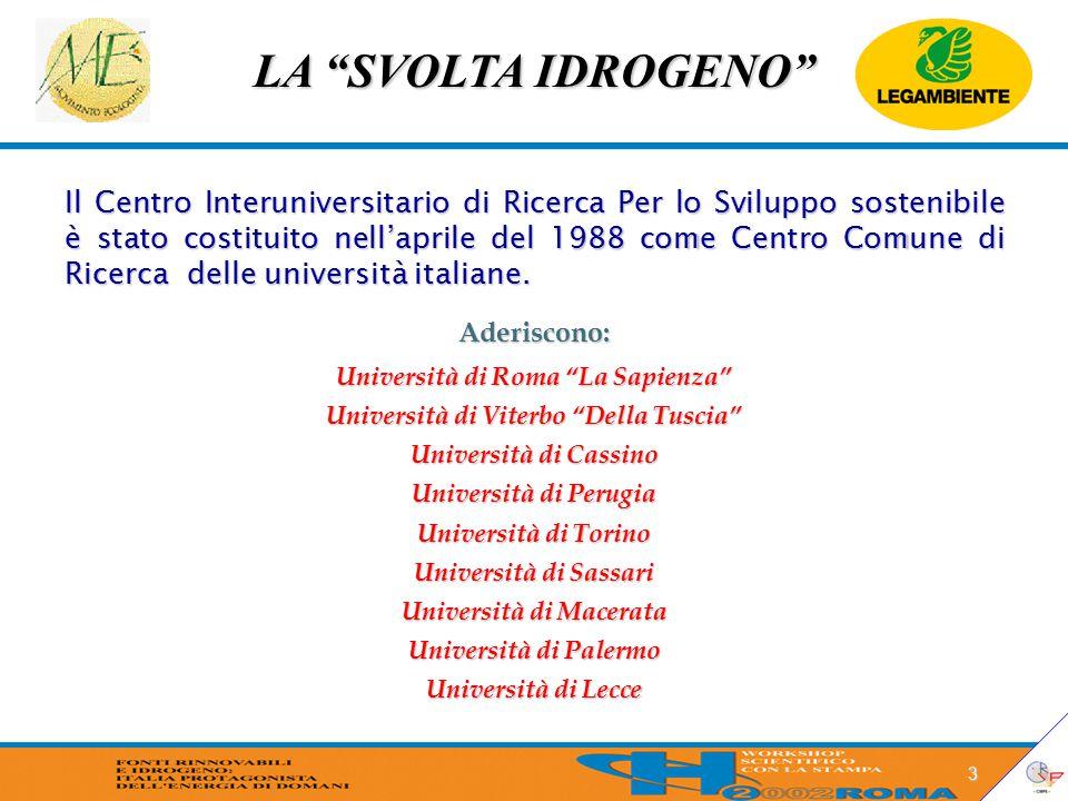 """LA """"SVOLTA IDROGENO"""" 3 Il Centro Interuniversitario di Ricerca Per lo Sviluppo sostenibile è stato costituito nell'aprile del 1988 come Centro Comune"""