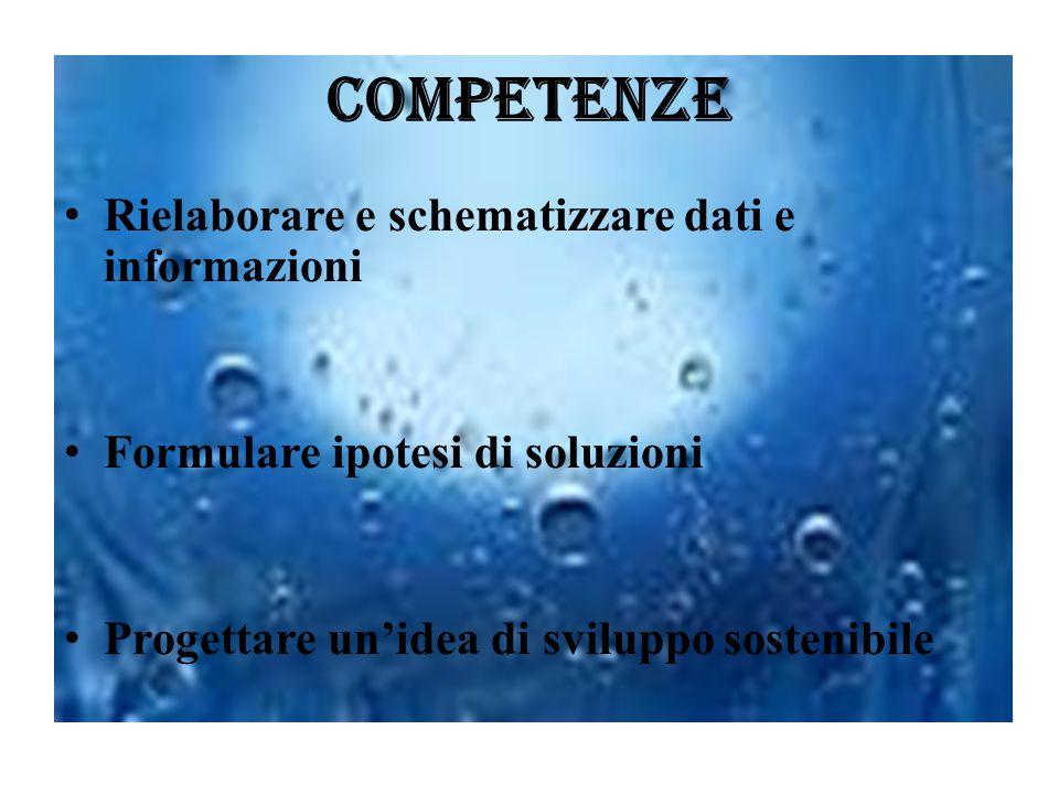 Competenze Rielaborare e schematizzare dati e informazioni Formulare ipotesi di soluzioni Progettare un'idea di sviluppo sostenibile