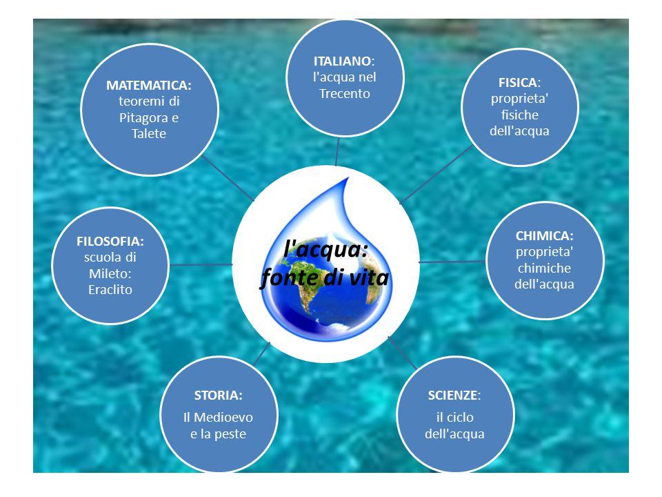 l'acqua: fonte di vita ITALIANO: l'acqua nel Trecento FISICA: proprieta' fisiche dell'acqua CHIMICA: proprieta' chimiche dell'acqua SCIENZE: il ciclo