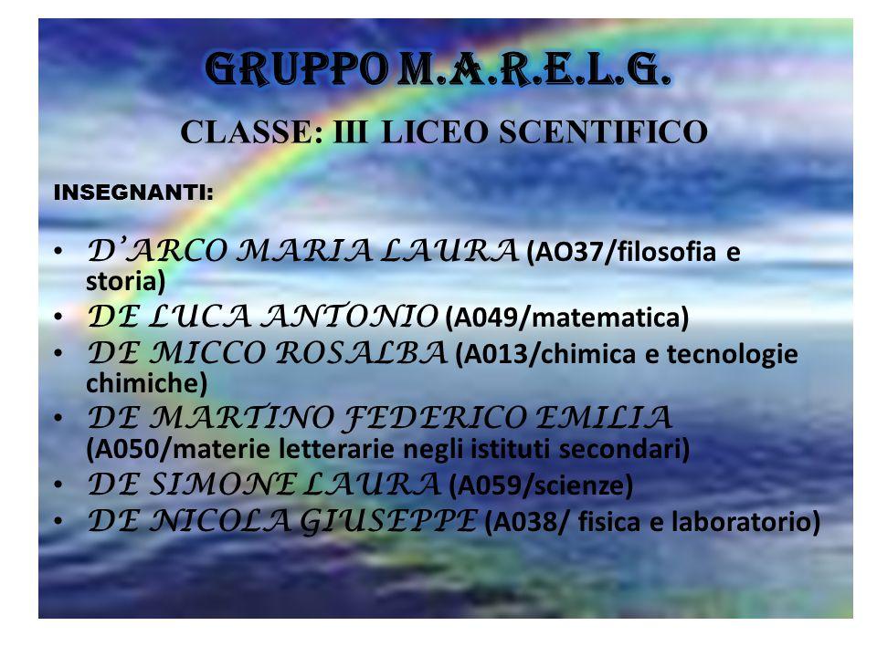 INSEGNANTI: D'ARCO MARIA LAURA (AO37/filosofia e storia) DE LUCA ANTONIO (A049/matematica) DE MICCO ROSALBA (A013/chimica e tecnologie chimiche) DE MA