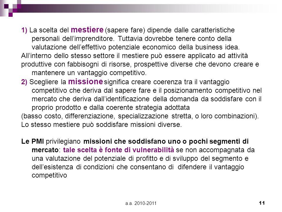 a.a. 2010-201111 1) La scelta del mestiere (sapere fare) dipende dalle caratteristiche personali dell'imprenditore. Tuttavia dovrebbe tenere conto del