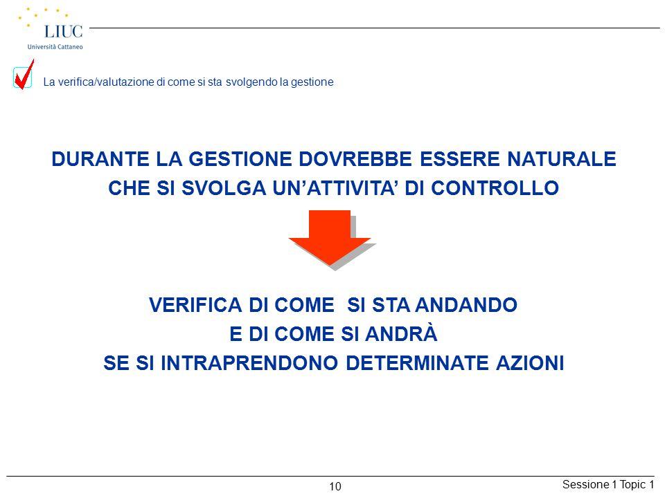 Sessione 1 Topic 1 10 La verifica/valutazione di come si sta svolgendo la gestione DURANTE LA GESTIONE DOVREBBE ESSERE NATURALE CHE SI SVOLGA UN'ATTIV