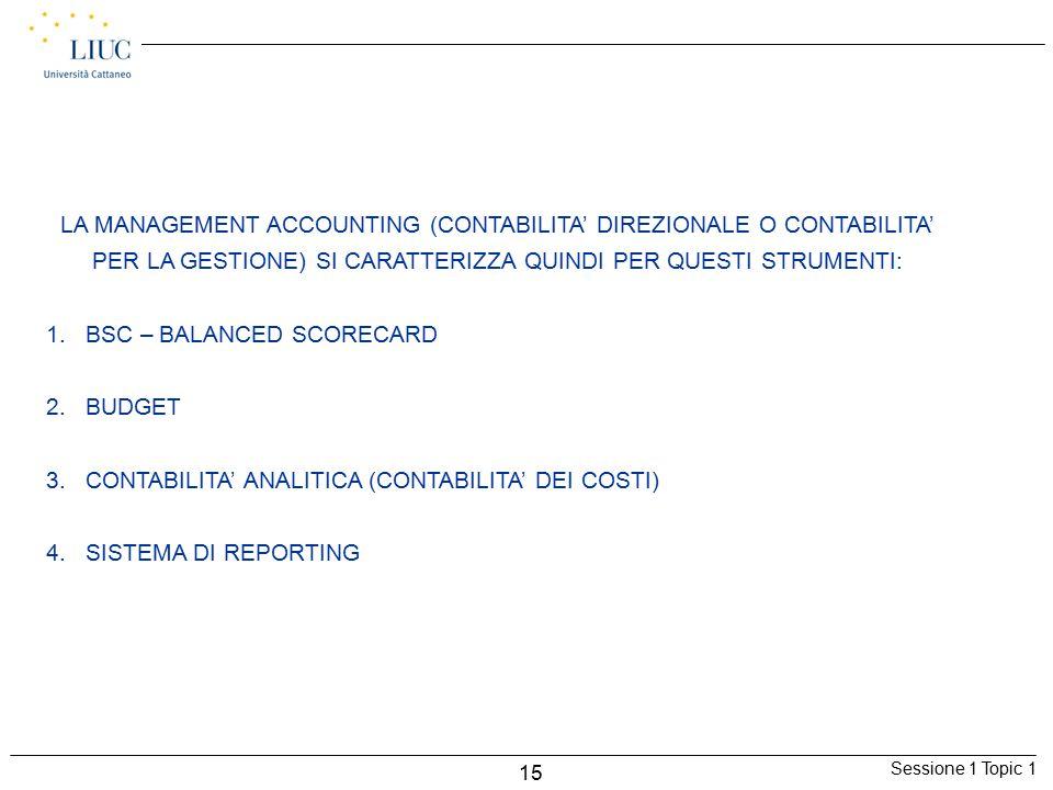 Sessione 1 Topic 1 15 LA MANAGEMENT ACCOUNTING (CONTABILITA' DIREZIONALE O CONTABILITA' PER LA GESTIONE) SI CARATTERIZZA QUINDI PER QUESTI STRUMENTI: 1.BSC – BALANCED SCORECARD 2.BUDGET 3.CONTABILITA' ANALITICA (CONTABILITA' DEI COSTI) 4.SISTEMA DI REPORTING