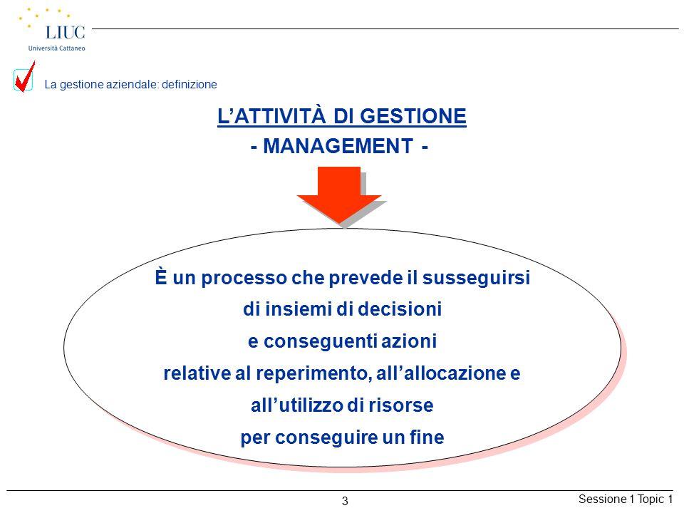 Sessione 1 Topic 1 3 La gestione aziendale: definizione È un processo che prevede il susseguirsi di insiemi di decisioni e conseguenti azioni relative