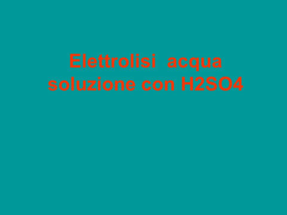 batteria Catodo,negativoAnodo, positivo H2SO4 2H+ SO4-- H° H2SO4 si separa (ionizza) in catione H+ e Anione SO4-- I cationi migrano al catodo e si riducono Gli anioni migrano all'anodo ma non si ossidano 2H+ + 2e > H2H2O – 2e >0.5 O +2H+ H2O2H+ O L'acqua si trasforma in O e 2 H+ :elettrolisi di 1 H2O