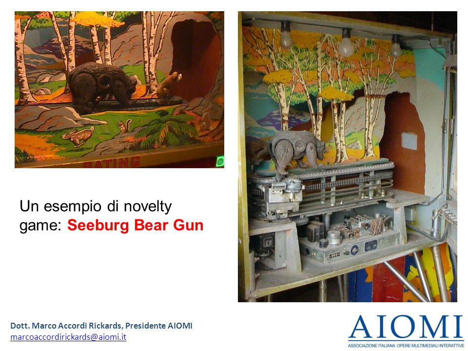 Dott. Marco Accordi Rickards, Presidente AIOMI marcoaccordirickards@aiomi.it Un esempio di novelty game: Seeburg Bear Gun