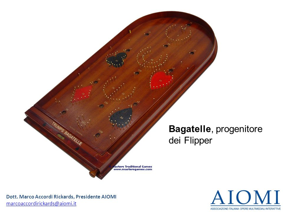 Dott. Marco Accordi Rickards, Presidente AIOMI marcoaccordirickards@aiomi.it Bagatelle, progenitore dei Flipper