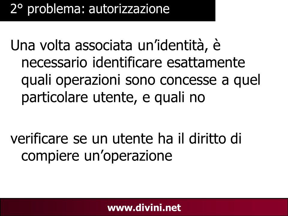 00 AN 15 www.divini.net 2° problema: autorizzazione Una volta associata un'identità, è necessario identificare esattamente quali operazioni sono conce