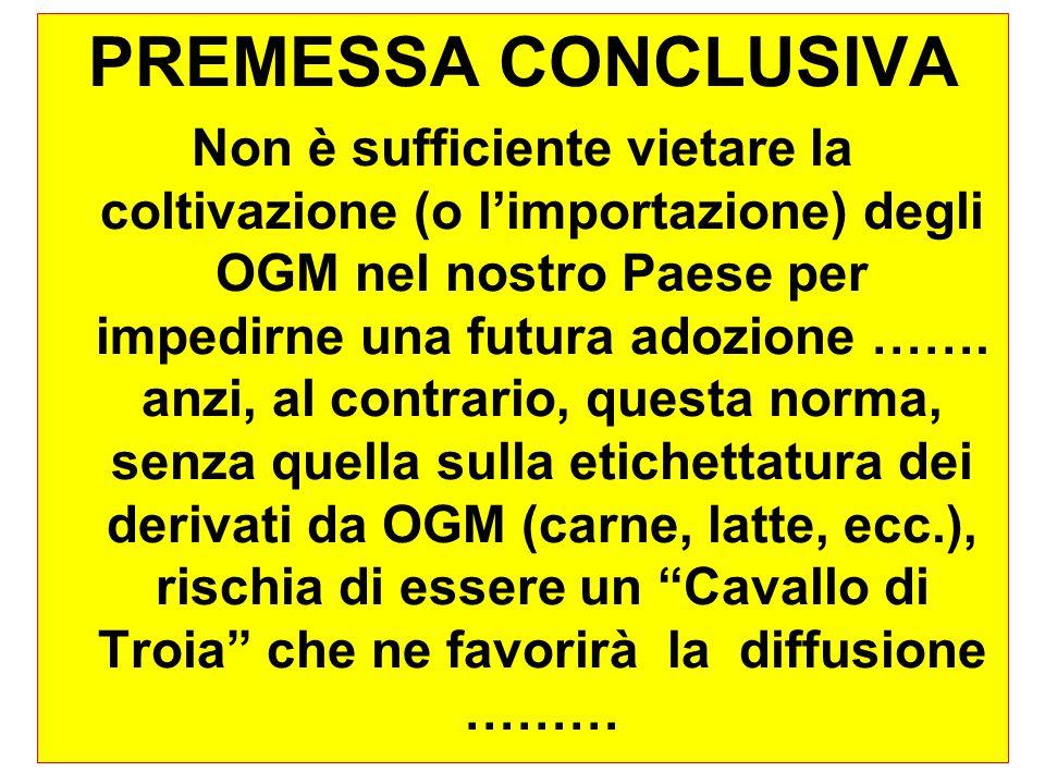 53 A questo proposito la Commissione sulla coesistenza nominata da Pecoraro Scanio nel 2001 arrivò alla conclusione che la Coesistenza è impossibile .