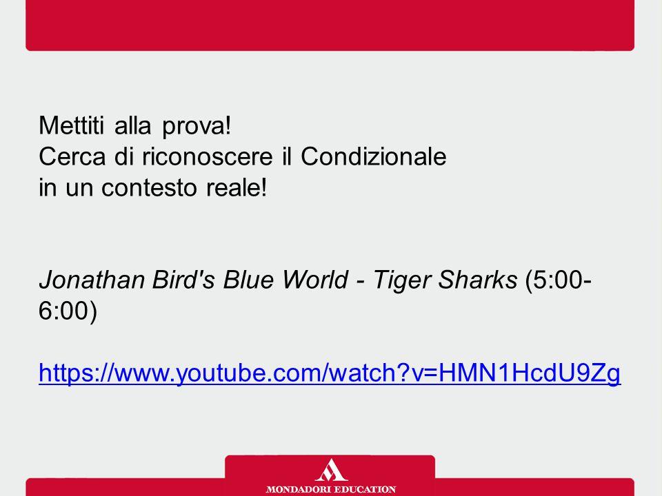 Mettiti alla prova! Cerca di riconoscere il Condizionale in un contesto reale! Jonathan Bird's Blue World - Tiger Sharks (5:00- 6:00) https://www.yout