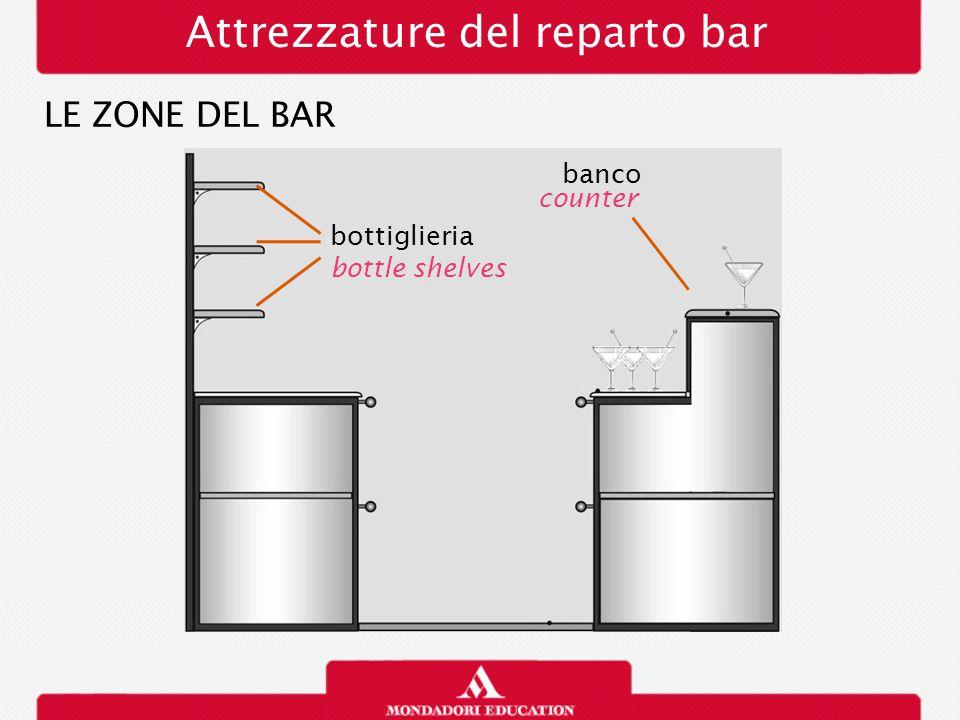 Attrezzature del reparto bar LE ZONE DEL BAR bottiglieria bottle shelves banco counter