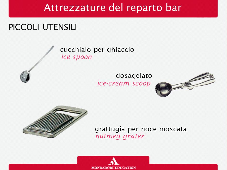 Attrezzature del reparto bar PICCOLI UTENSILI passino strainer rigalimoni pinze tongs lemon zester
