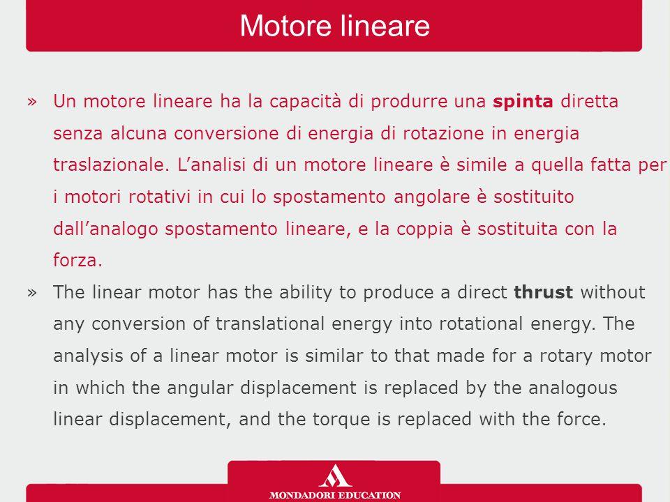 »Nei motori lineari il campo magnetico fisso è prodotto dai magneti permanenti, mentre il campo magnetico di traslazione è generato da un sistema di correnti trifase circolanti negli avvolgimenti del circuito del primario.