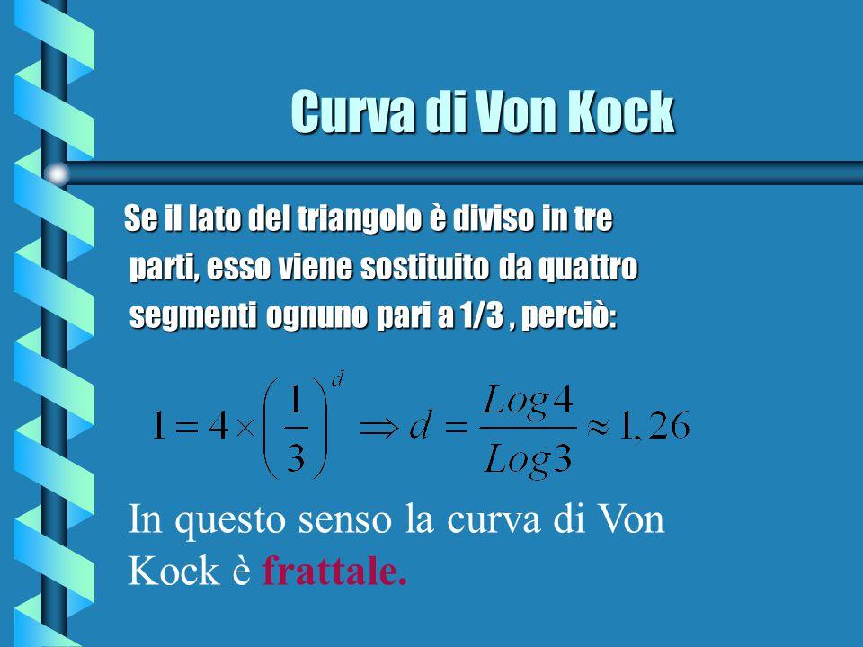 Curva di Von Kock Se il lato del triangolo è diviso in tre parti, esso viene sostituito da quattro parti, esso viene sostituito da quattro segmenti og