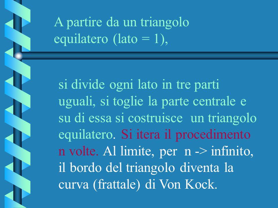 A partire da un triangolo equilatero (lato = 1), si divide ogni lato in tre parti uguali, si toglie la parte centrale e su di essa si costruisce un tr