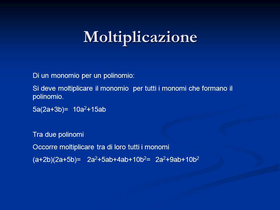 Moltiplicazione Di un monomio per un polinomio: Si deve moltiplicare il monomio per tutti i monomi che formano il polinomio.