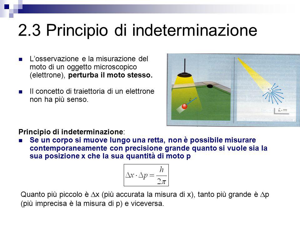 2.3 Principio di indeterminazione L'osservazione e la misurazione del moto di un oggetto microscopico (elettrone), perturba il moto stesso. Il concett